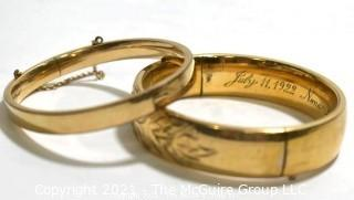 Two (2) 12 kt Gold Filled Hinged Bangle Bracelets Engraved. One made by Craftmere.