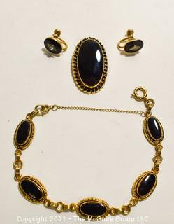 Vintage White Co 12 Kt. Gold Filled Four (4) Piece Jewelry Set.  Includes Prong Set Onyx with Pendant or Brooch, Screw Back Earrings Crystal Accent and Matching Link Bracelet.