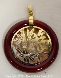 """Gold Filled Asian Pendant with Carnelian Stone Surround.  1 1/2"""" long including bail."""