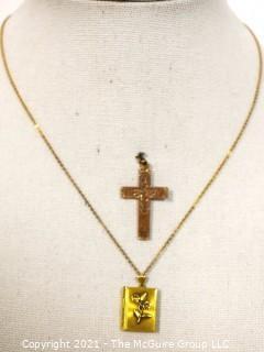 Two Vintage Gold Filled Pendants - Locket & Cross.