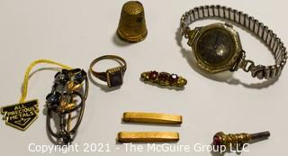 Mixed Group of Vintage Jewelry, Watch and Thimble