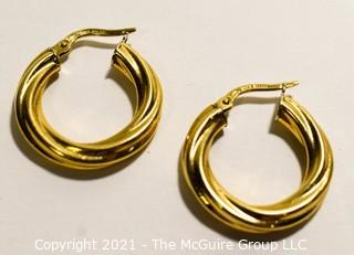 """Pair of 18k Gold Twisted Hoop Earrings, made in Italy ; stamped Milor; 3/4"""" in Diameter; 1g  (Note: Description altered 6-20 @ 1:48pm"""