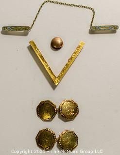 Group of Gold Jewelry.  Includes Cuff Links, Enamel Painted Sweater Clip, V Brooch and Shirt Stud; 14.8g.