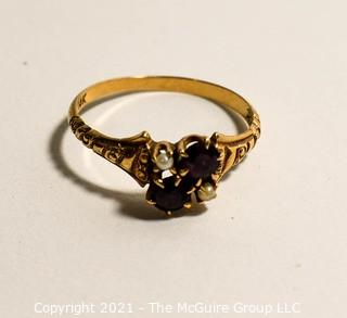 10k Vintage with Garnet and Pearl Ring (Note: Description altered 6-20 1:38pm).