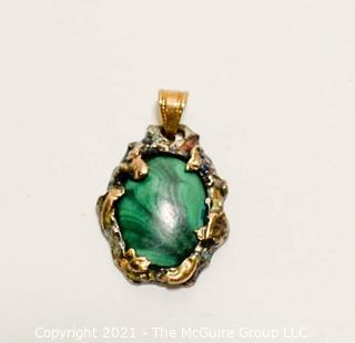 Hand Crafted Gold Filled with Malachite Stone Pendant.  Mark on Back But Illegible.