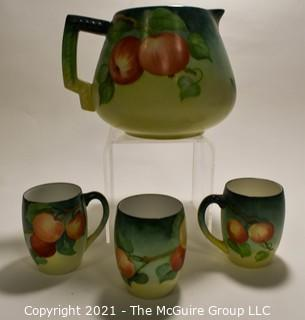 Hand Painted Green with Apple Decoration Porcelain Ball Pitcher with Three Matching Cups.