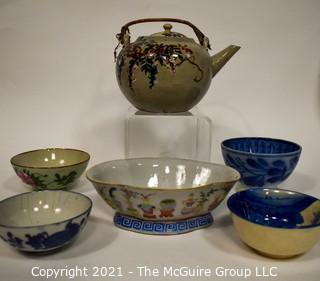Collection of Hand Painted Asian Porcelain China Items Including Tea Cups, Tea Pots and Bowls.  Some Marked with Chop Marks.
