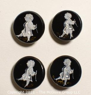 Four (4) Antique Hand Blown Lampwork Glass Buttons with Man walking.