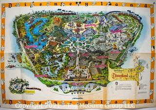 """Vintage Original 1958 Disneyland Wall Map C Version with Park Guide.  Some wear to fold crease.  Measures 49"""" x 29"""".    Mickey Mouse. Walt Disney"""