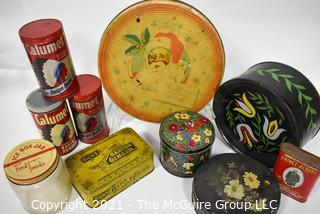 Collection of Vintage Metal Tins, Some Hand Painted.