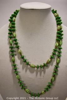 Vintage Murano Hand Made Opera Length Green Art Glass Bead Necklace.