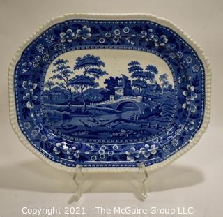"""Antique Copeland Spode Blue Tower Blue & White Transferware Porcelain China Oval Serving Platter. 17"""" L Tower Blue (No #, Older, Gadroon) by SPODE"""