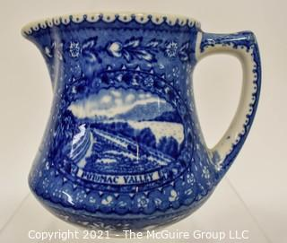 "Antique Baltimore And Ohio Railroad Lamberton Blue & White Transferware Porcelain China Creamer or Pitcher. Measures 5"" x 4"" x 4"""