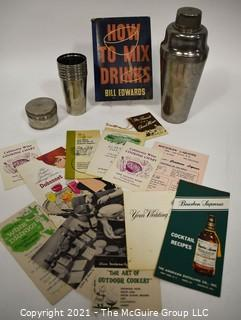 """Vintage Mixologist Collection.  Includes a 1936 copy of Bill Edwards """"How to Mix Drinks"""", Cocktail Shaker, Set of ThermoCup Camping or Bar Cups and Advertising Cocktail Recipes Pamphlets."""