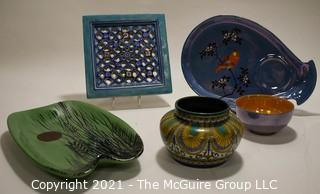 Group of Ceramic Pottery Items.  Includes Moroccan Pierced Tile and a Gouda Clareth Holland bowl.