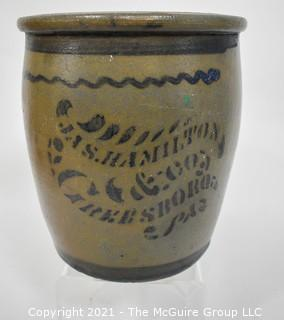 "Antique American James (Jas.) Hamilton & Co., Greensboro, PA Salt Glazed Cobalt Decorated Stoneware Canning Crock.  Measures 9"" T x 7"" D"