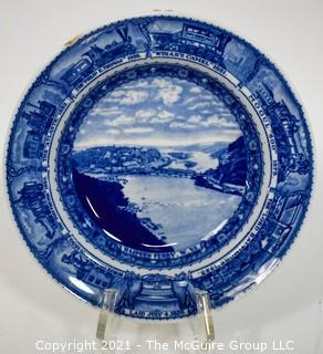 "Antique Baltimore And Ohio Railroad Lamberton Blue & White Transferware Porcelain China Soup or Serving Bowl; 9"" x 2""deep"