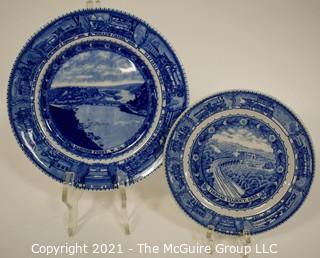 """Two (2) Antique Baltimore And Ohio Railroad Lamberton Blue & White Transferware Porcelain China Dinner Plate And Salad Plate. Chip on Edge pf Salad Plate. Measures 9"""" & 6"""" in diameter."""