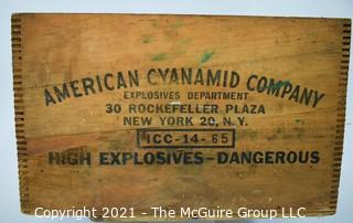 """""""High Exposives -Dangerous"""" Finger Jointed Wooden Box imprinted with American Cyanimid Company, 30 Rockefeller Plaza, NY, NY"""