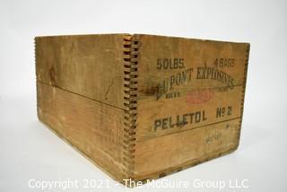 "Vintage Dupont Explosive Dynamite Wooden Crate; 18"" x 12"" x 9""."