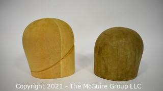 Two (2) Vintage Wood and Paper Mache Hat Forms.