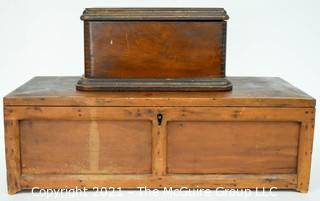 Two (2) Primitive Hand Made Wooden File Boxes.