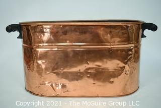 "Antique Primitive Hammered Copper Boiler Wash Tub with Wood Handles; 26"" x 12"" x 13"""