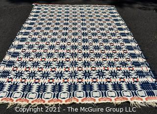 """Antique Hand Loomed Woven Tri-color Jacquard Coverlet in Orange Navy & White; 60"""" x 90"""""""
