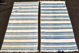 "Two (2) Flat Woven Blue & White Stripe Area Rugs; 75"" x 35"""