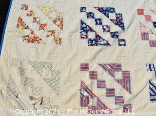 """Vintage Hand Made Quilt in the Railroad Block Pattern.  Measures 70"""" x 80"""""""