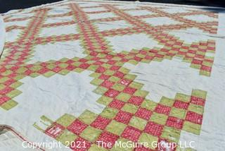 Vintage Hand Made Quilt in the Ocean Wave Pattern.  Documented and listed in the West Virginia Heritage Quilt Search.  Some Wear due to age.