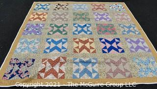 """1930's Hand Made Quilt in the Framed X Pattern Made by Elizabeth Rockwell; 80 x 82""""; Documented and listed in the West Virginia Heritage Quilt Search.  Some Wear due to age."""