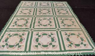 1930's Hand Made Quilt in the Grandmother's Fan Varia Pattern Made by Elizabeth Rockwell;  Documented and listed in the West Virginia Heritage Quilt Search.