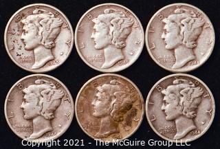 Coin: Six Silver Mercury Head Dimes 1944-1945 (P-D-S)