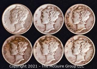 Coin: Six Silver Mercury Head Dimes 1938-1939 (P-D-S)