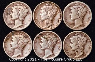 Coin: Six Silver Mercury Head Dimes 1936-1937 (P-D-S)