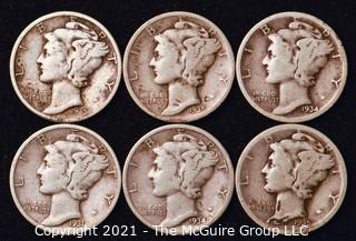 Coin: Six Silver Mercury Head Dimes 1931-1935 (P-D-S)