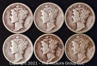 Coin: Six Silver Mercury Head Dimes 1928-1930 (P-D-S)