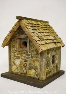 """Primitive Hand Crafted Stone and Wood Bird House.   Measures 13"""" x 12"""" x 12""""."""