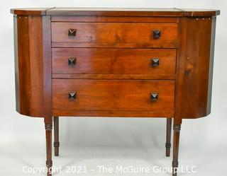 Three (3) Drawer Martha Washington Sewing Stand with Side Project Pockets and Square Wooden Drawer Pulls (TMG re-numbered)