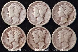 Coin: Six Silver Mercury Head Dimes 1926-1927 (P-D-S)
