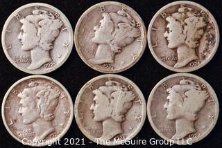 Coin: Six Silver Mercury Head Dimes 1923-1925 (P-S)