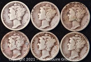 Coin: Six Silver Mercury Head Dimes 1919-1923 (P-D-S)