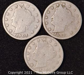 Coin: Silver Barber Head V Nickels; 1888; 1904; 1908