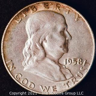 Coin: Silver Franklin Half Dollar: 1958-D