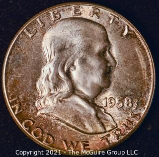 Coin: Silver Franklin Half Dollar: 1958-P