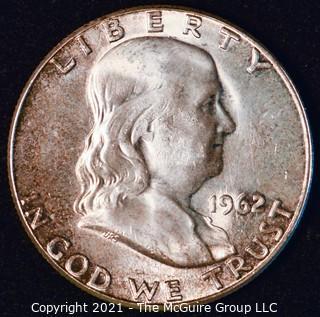 Coin: Silver Franklin Half Dollar: 1962-P