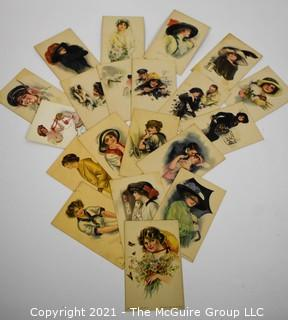 Collection of 1912 Alice Luella Fidler Series #4 American Girl Post Cards. Portraits of Women with Flowers