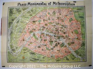 Antique Folding Pocket Map of Paris.  Pre WWII