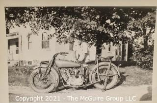 """3 x 5"""" Vintage Black & White Candid Family Photo Album Photograph of Boy Fixing Early Motorcycle (Note: Description altered 6.24@7:44pm)"""